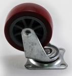 Колесо с креплением поворотное  25 мм коричневое/серое