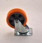 Колесо с креплением поворотное 100 мм оранжевое