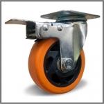 Колесо с креплением поворотное 100 мм с тормозом оранжевое