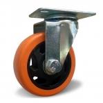 Колесо с креплением поворотное 125 мм оранжевое