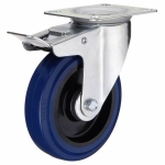 Колесо с креплением поворотное  65 мм с тормозом СИНИЕ