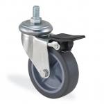 Колесо с креплением поворотное  65 мм усиленное с тормозом ЧЕРНОЕ
